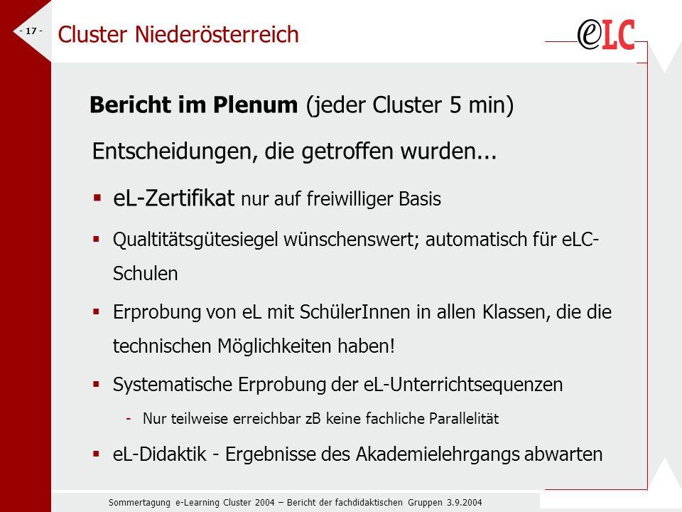 Sommertagung e-Learning Cluster 2004 – Bericht der fachdidaktischen Gruppen 3.9.2004 - 17 - Cluster Niederösterreich Bericht im Plenum (jeder Cluster 5 min) Entscheidungen, die getroffen wurden...