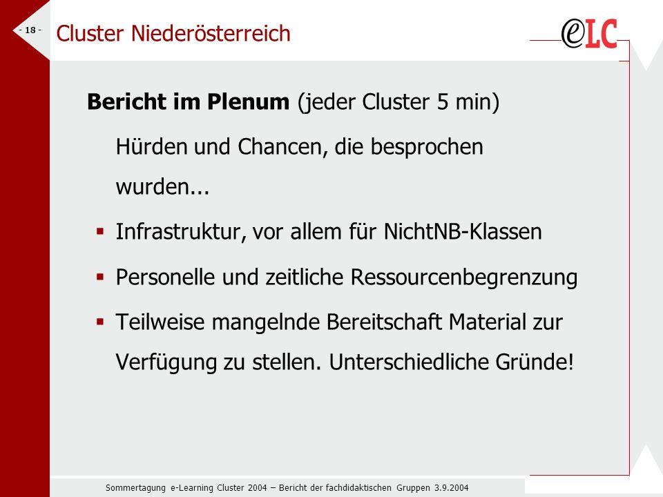 Sommertagung e-Learning Cluster 2004 – Bericht der fachdidaktischen Gruppen 3.9.2004 - 18 - Cluster Niederösterreich Bericht im Plenum (jeder Cluster 5 min) Hürden und Chancen, die besprochen wurden...