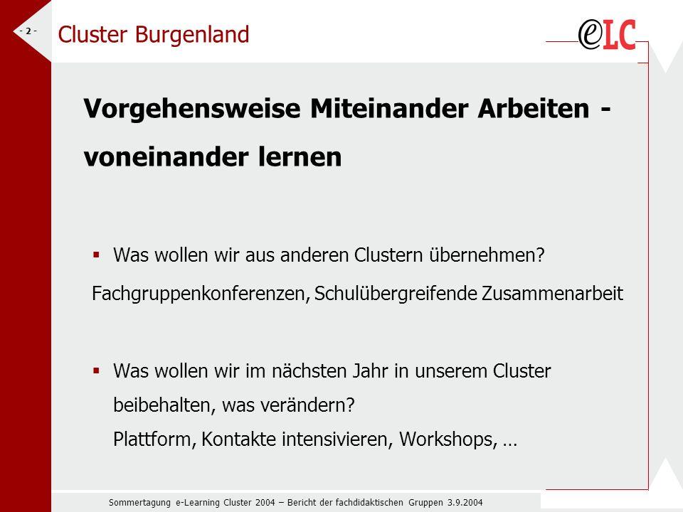 Sommertagung e-Learning Cluster 2004 – Bericht der fachdidaktischen Gruppen 3.9.2004 - 2 - Cluster Burgenland Vorgehensweise Miteinander Arbeiten - voneinander lernen Was wollen wir aus anderen Clustern übernehmen.