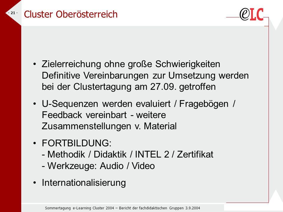 Sommertagung e-Learning Cluster 2004 – Bericht der fachdidaktischen Gruppen 3.9.2004 - 21 - Zielerreichung ohne große Schwierigkeiten Definitive Vereinbarungen zur Umsetzung werden bei der Clustertagung am 27.09.
