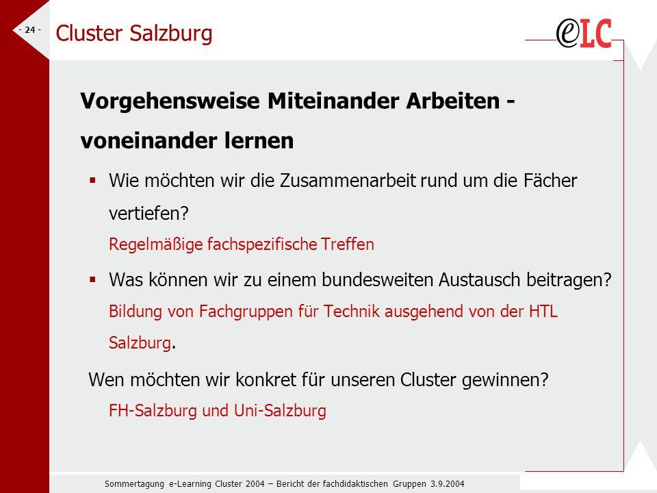Sommertagung e-Learning Cluster 2004 – Bericht der fachdidaktischen Gruppen 3.9.2004 - 24 - Cluster Salzburg Vorgehensweise Miteinander Arbeiten - voneinander lernen Wie möchten wir die Zusammenarbeit rund um die Fächer vertiefen.