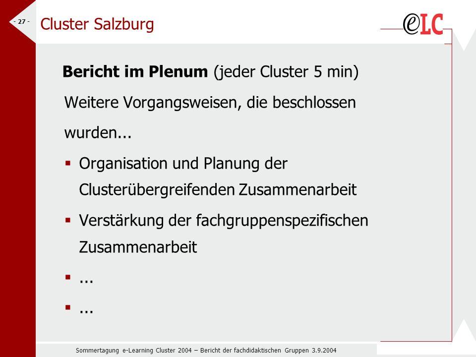 Sommertagung e-Learning Cluster 2004 – Bericht der fachdidaktischen Gruppen 3.9.2004 - 27 - Cluster Salzburg Bericht im Plenum (jeder Cluster 5 min) Weitere Vorgangsweisen, die beschlossen wurden...