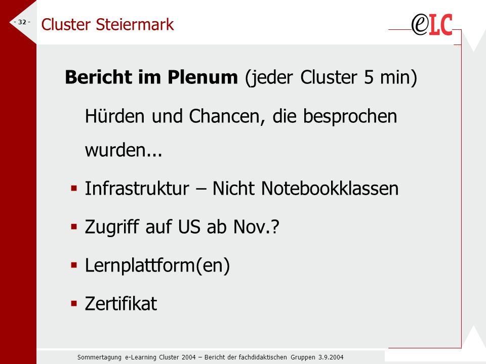 Sommertagung e-Learning Cluster 2004 – Bericht der fachdidaktischen Gruppen 3.9.2004 - 32 - Cluster Steiermark Bericht im Plenum (jeder Cluster 5 min) Hürden und Chancen, die besprochen wurden...