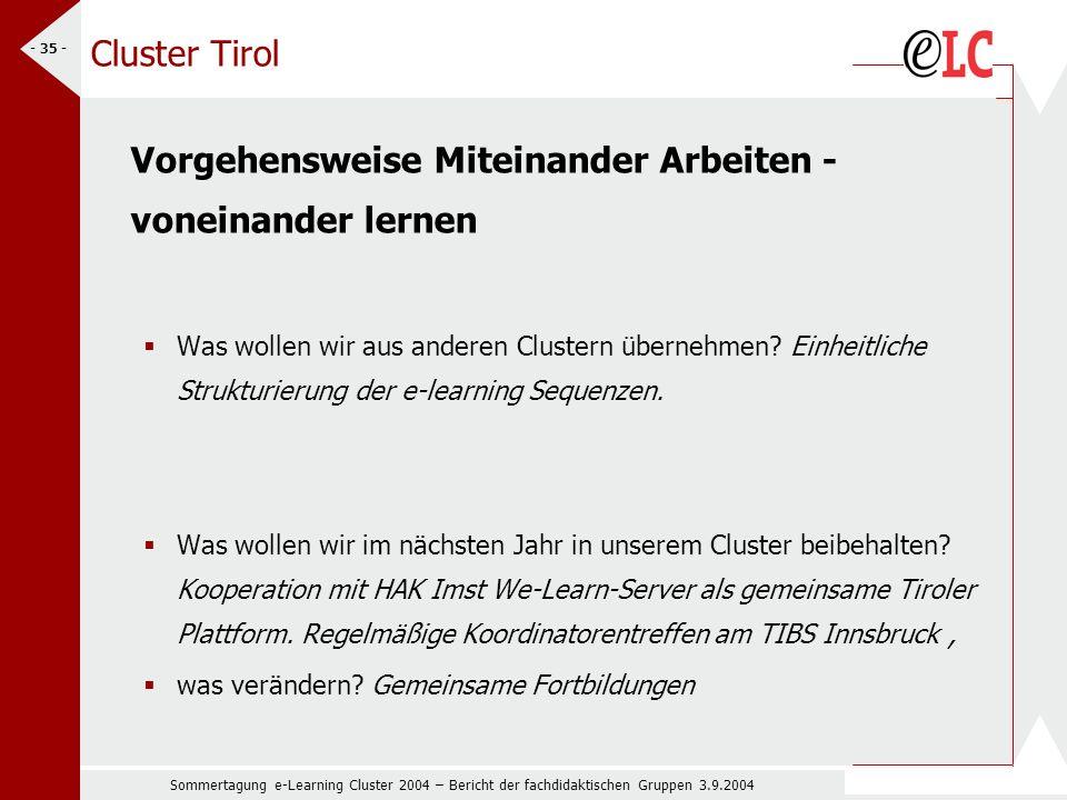 Sommertagung e-Learning Cluster 2004 – Bericht der fachdidaktischen Gruppen 3.9.2004 - 35 - Cluster Tirol Vorgehensweise Miteinander Arbeiten - voneinander lernen Was wollen wir aus anderen Clustern übernehmen.
