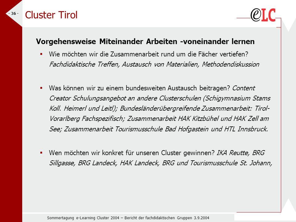 Sommertagung e-Learning Cluster 2004 – Bericht der fachdidaktischen Gruppen 3.9.2004 - 36 - Cluster Tirol Vorgehensweise Miteinander Arbeiten -voneinander lernen Wie möchten wir die Zusammenarbeit rund um die Fächer vertiefen.