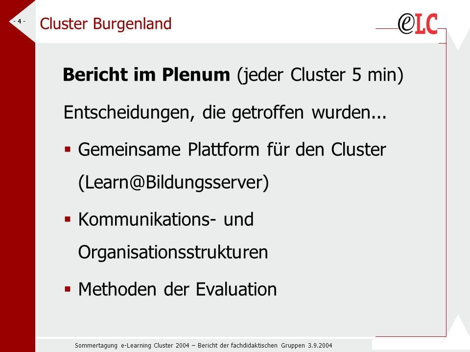 Sommertagung e-Learning Cluster 2004 – Bericht der fachdidaktischen Gruppen 3.9.2004 - 4 - Cluster Burgenland Bericht im Plenum (jeder Cluster 5 min) Entscheidungen, die getroffen wurden...