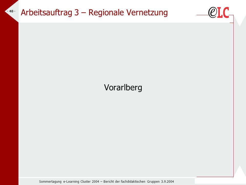 Sommertagung e-Learning Cluster 2004 – Bericht der fachdidaktischen Gruppen 3.9.2004 - 40 - Arbeitsauftrag 3 – Regionale Vernetzung Vorarlberg