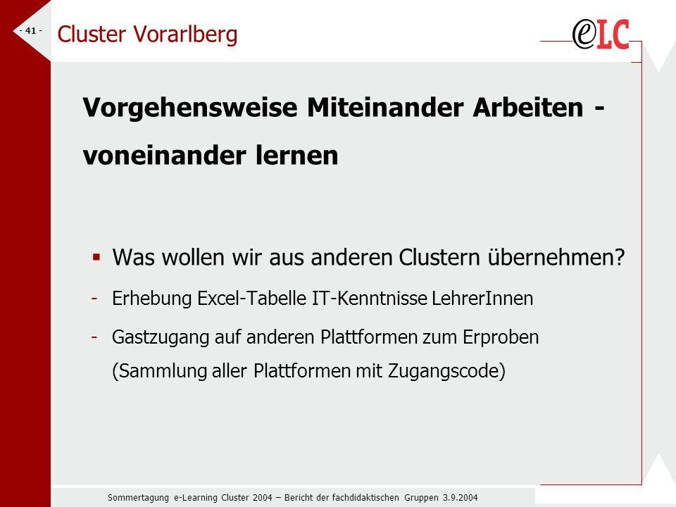 Sommertagung e-Learning Cluster 2004 – Bericht der fachdidaktischen Gruppen 3.9.2004 - 41 - Cluster Vorarlberg Vorgehensweise Miteinander Arbeiten - voneinander lernen Was wollen wir aus anderen Clustern übernehmen.
