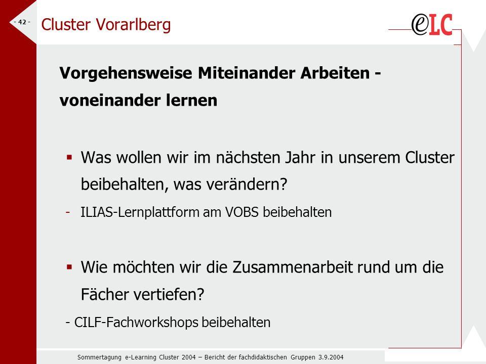 Sommertagung e-Learning Cluster 2004 – Bericht der fachdidaktischen Gruppen 3.9.2004 - 42 - Cluster Vorarlberg Vorgehensweise Miteinander Arbeiten - voneinander lernen Was wollen wir im nächsten Jahr in unserem Cluster beibehalten, was verändern.