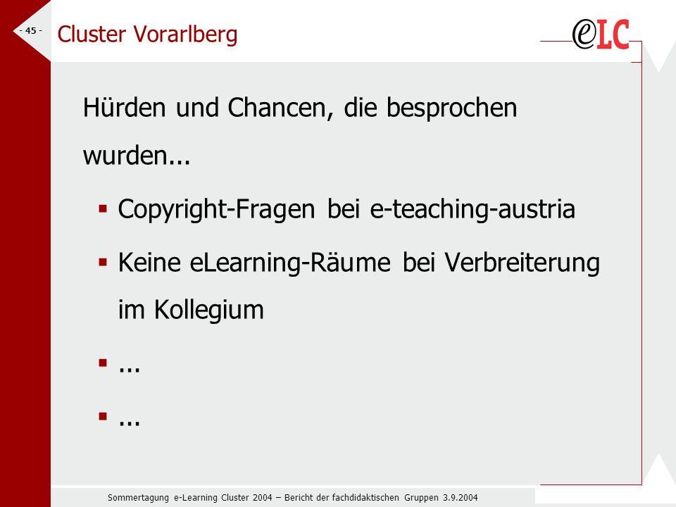 Sommertagung e-Learning Cluster 2004 – Bericht der fachdidaktischen Gruppen 3.9.2004 - 45 - Cluster Vorarlberg Hürden und Chancen, die besprochen wurden...