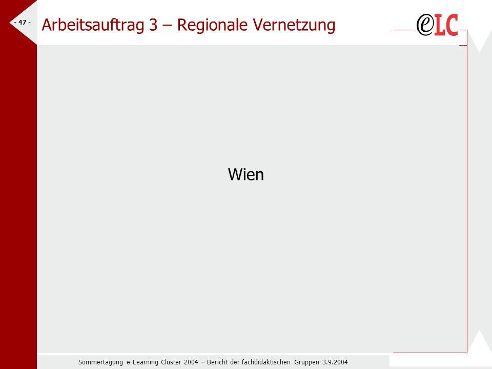 Sommertagung e-Learning Cluster 2004 – Bericht der fachdidaktischen Gruppen 3.9.2004 - 47 - Arbeitsauftrag 3 – Regionale Vernetzung Wien