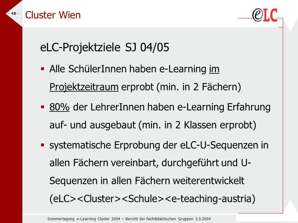 Sommertagung e-Learning Cluster 2004 – Bericht der fachdidaktischen Gruppen 3.9.2004 - 48 - Cluster Wien eLC-Projektziele SJ 04/05 Alle SchülerInnen haben e-Learning im Projektzeitraum erprobt (min.