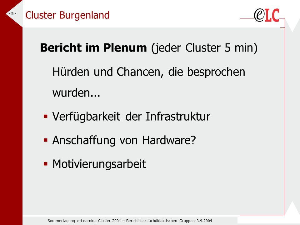 Sommertagung e-Learning Cluster 2004 – Bericht der fachdidaktischen Gruppen 3.9.2004 - 5 - Cluster Burgenland Bericht im Plenum (jeder Cluster 5 min) Hürden und Chancen, die besprochen wurden...