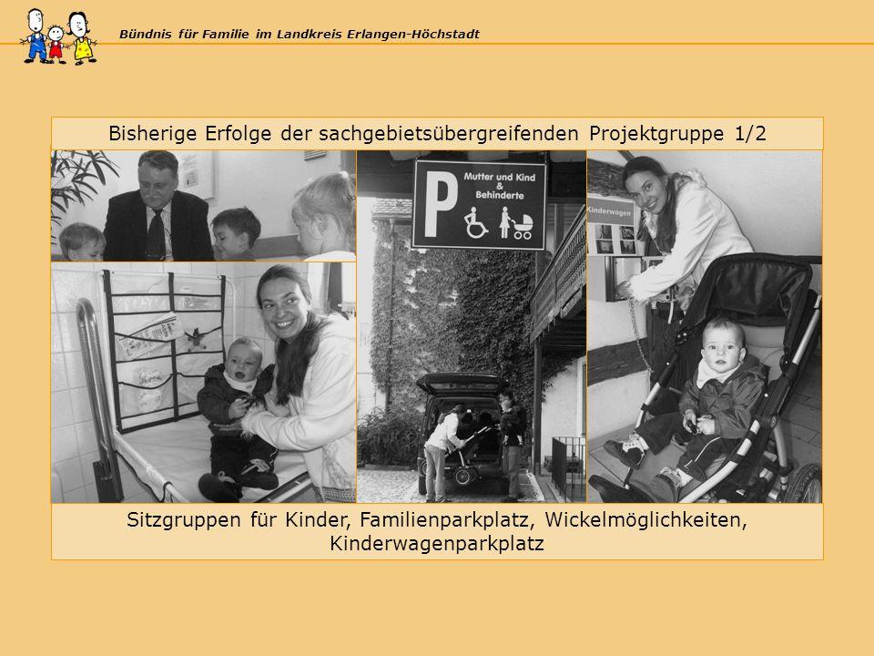 Bündnis für Familie im Landkreis Erlangen-Höchstadt Bisherige Erfolge der sachgebietsübergreifenden Projektgruppe 1/2 Sitzgruppen für Kinder, Familienparkplatz, Wickelmöglichkeiten, Kinderwagenparkplatz