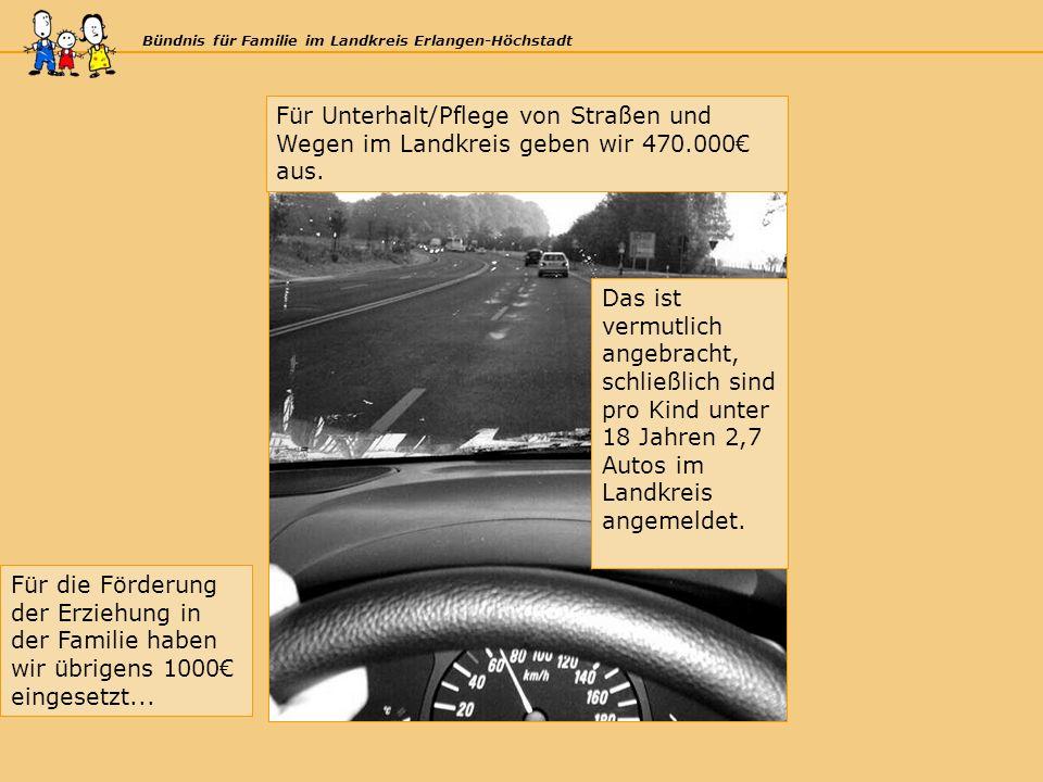 Bündnis für Familie im Landkreis Erlangen-Höchstadt Für Unterhalt/Pflege von Straßen und Wegen im Landkreis geben wir 470.000 aus.