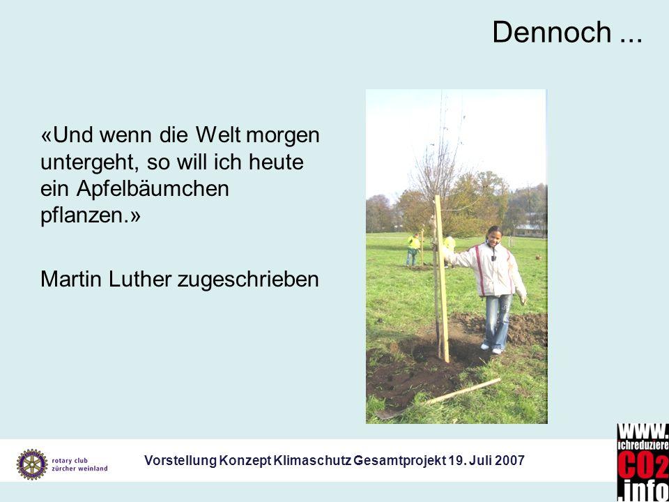 Vorstellung Konzept Klimaschutz Gesamtprojekt 19. Juli 2007 Dennoch... «Und wenn die Welt morgen untergeht, so will ich heute ein Apfelbäumchen pflanz