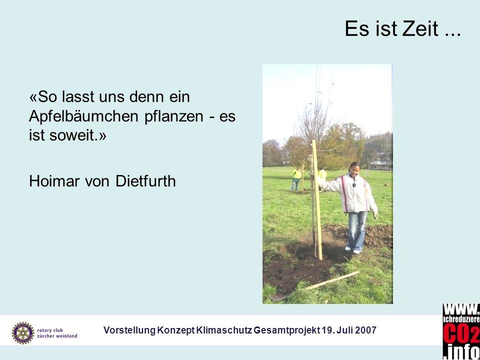 Vorstellung Konzept Klimaschutz Gesamtprojekt 19. Juli 2007 Es ist Zeit... «So lasst uns denn ein Apfelbäumchen pflanzen - es ist soweit.» Hoimar von