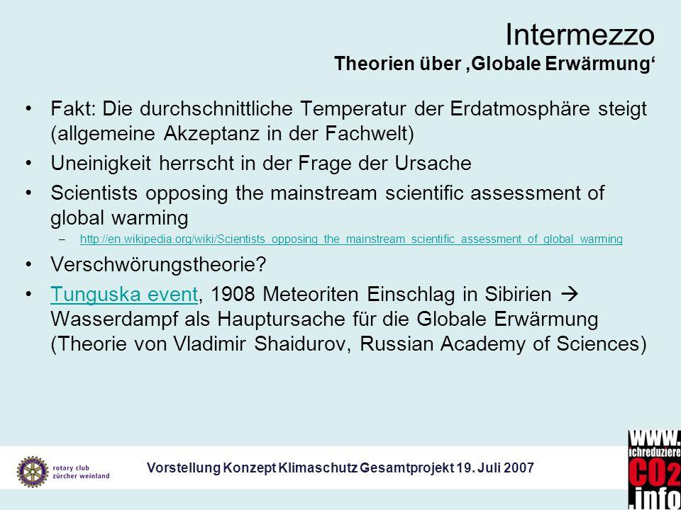 Vorstellung Konzept Klimaschutz Gesamtprojekt 19. Juli 2007 Intermezzo Theorien über Globale Erwärmung Fakt: Die durchschnittliche Temperatur der Erda