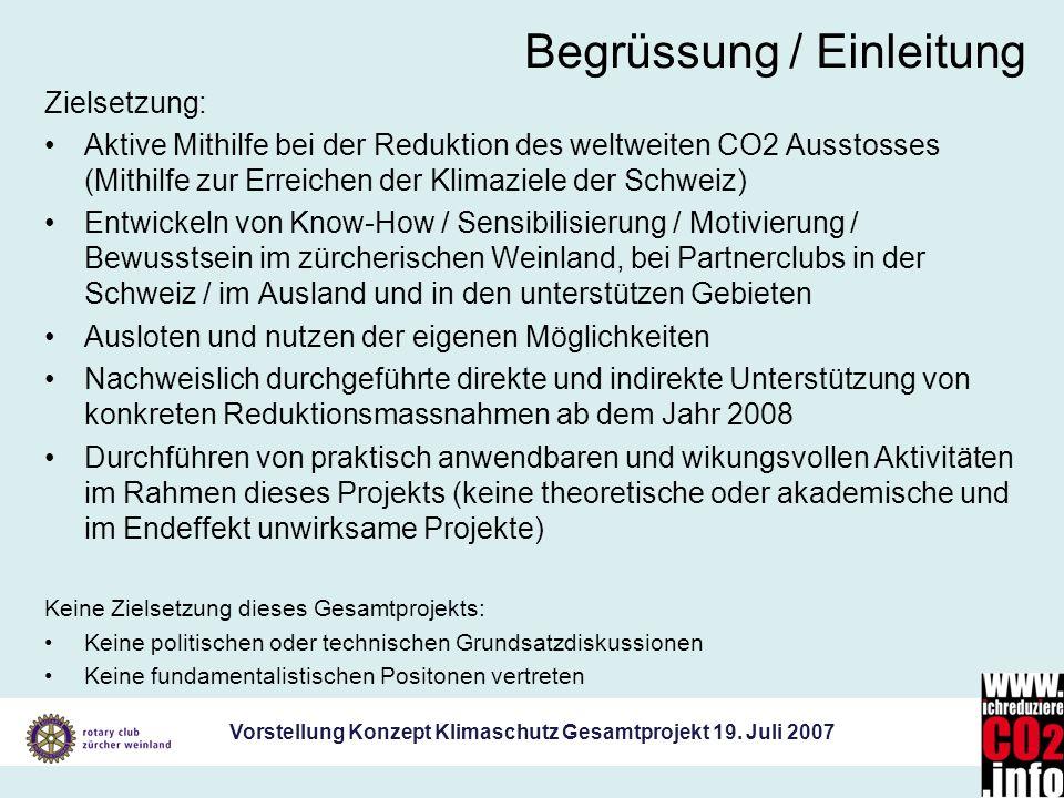 Vorstellung Konzept Klimaschutz Gesamtprojekt 19. Juli 2007 Begrüssung / Einleitung Zielsetzung: Aktive Mithilfe bei der Reduktion des weltweiten CO2
