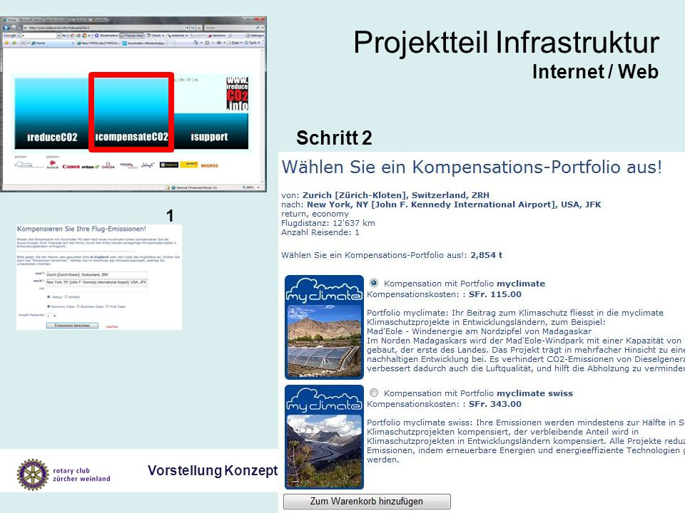 Vorstellung Konzept Klimaschutz Gesamtprojekt 19. Juli 2007 Projektteil Infrastruktur Internet / Web Schritt 2 1