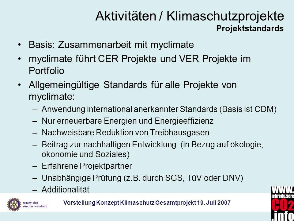 Vorstellung Konzept Klimaschutz Gesamtprojekt 19. Juli 2007 Aktivitäten / Klimaschutzprojekte Projektstandards Basis: Zusammenarbeit mit myclimate myc