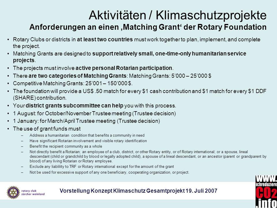 Vorstellung Konzept Klimaschutz Gesamtprojekt 19. Juli 2007 Aktivitäten / Klimaschutzprojekte Anforderungen an einen Matching Grant der Rotary Foundat