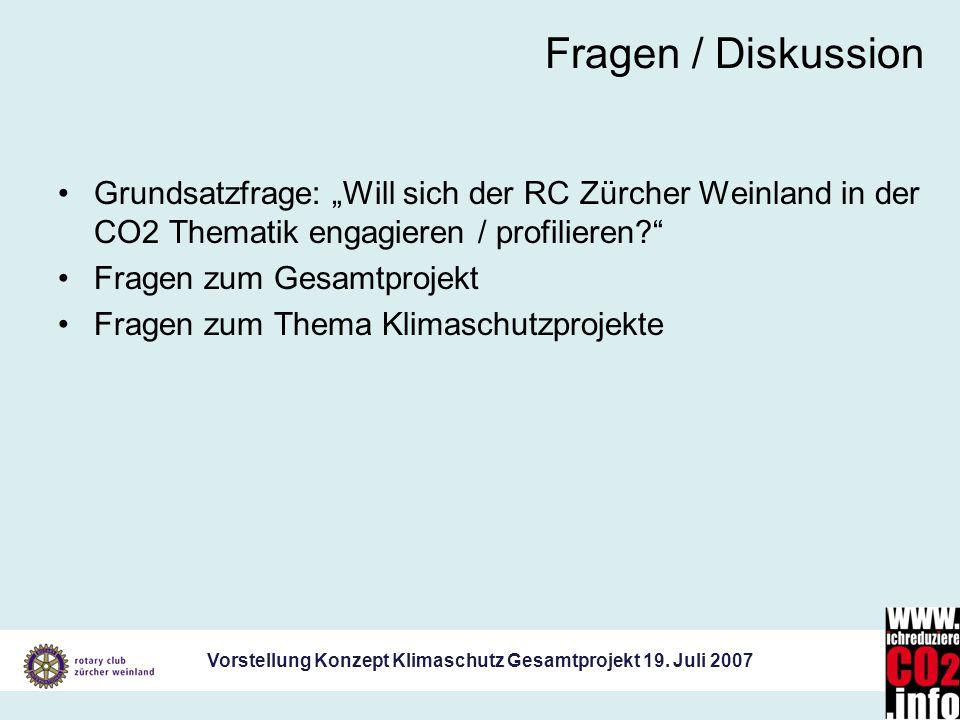 Vorstellung Konzept Klimaschutz Gesamtprojekt 19. Juli 2007 Fragen / Diskussion Grundsatzfrage: Will sich der RC Zürcher Weinland in der CO2 Thematik