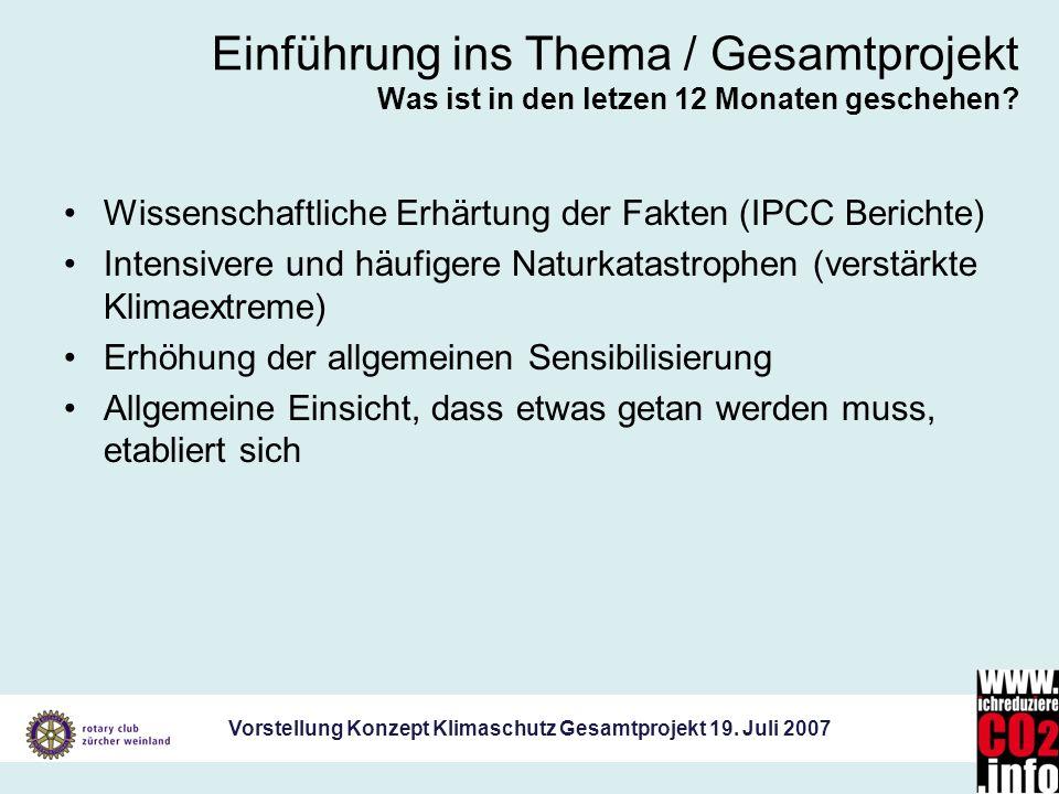 Vorstellung Konzept Klimaschutz Gesamtprojekt 19. Juli 2007 Einführung ins Thema / Gesamtprojekt Was ist in den letzen 12 Monaten geschehen? Wissensch
