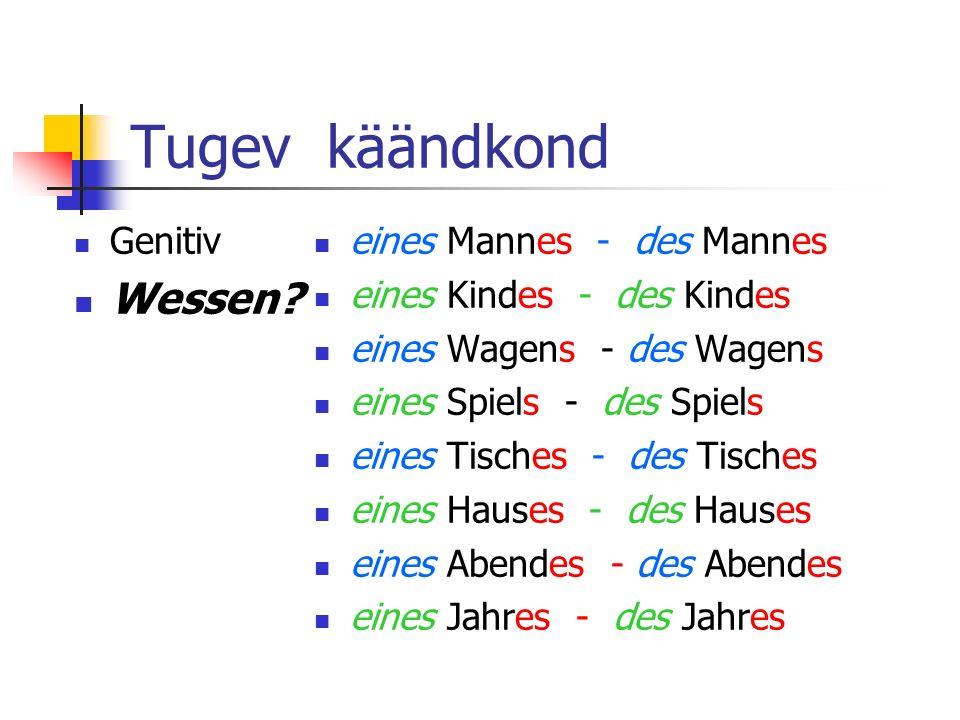 Tugev käändkond Genitiv Wessen.
