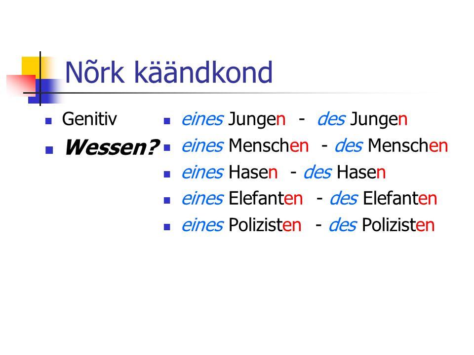 Nõrk käändkond Genitiv Wessen.