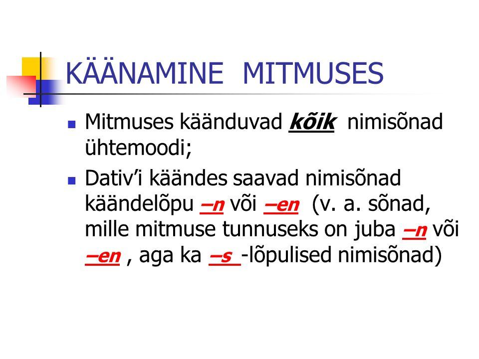 KÄÄNAMINE MITMUSES Mitmuses käänduvad kõik nimisõnad ühtemoodi; Dativi käändes saavad nimisõnad käändelõpu –n või –en (v. a. sõnad, mille mitmuse tunn
