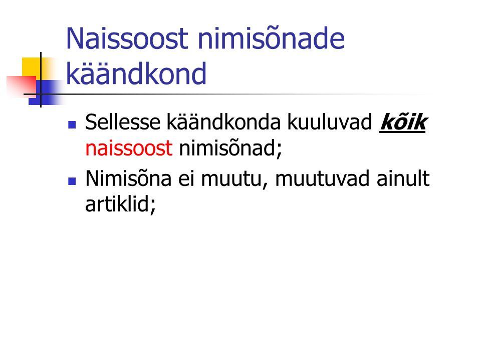 Naissoost nimisõnade käändkond Sellesse käändkonda kuuluvad kõik naissoost nimisõnad; Nimisõna ei muutu, muutuvad ainult artiklid;
