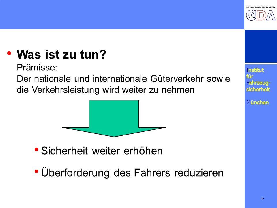 Institut für Fahrzeug- sicherheit München Was ist zu tun? Prämisse: Der nationale und internationale Güterverkehr sowie die Verkehrsleistung wird weit