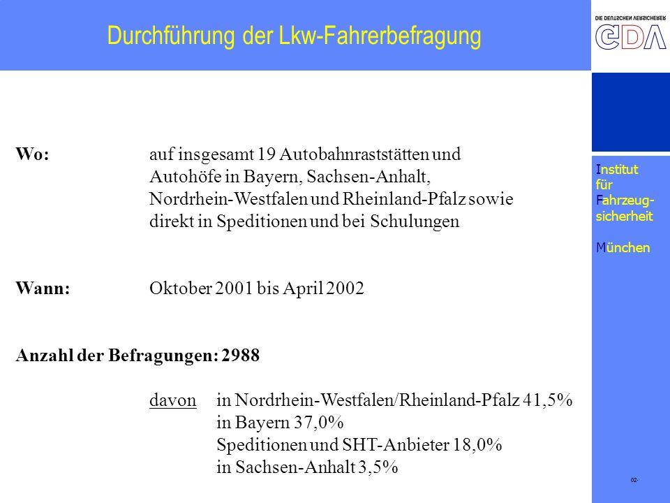 Institut für Fahrzeug- sicherheit München Durchführung der Lkw-Fahrerbefragung 02- Wo: auf insgesamt 19 Autobahnraststätten und Autohöfe in Bayern, Sa