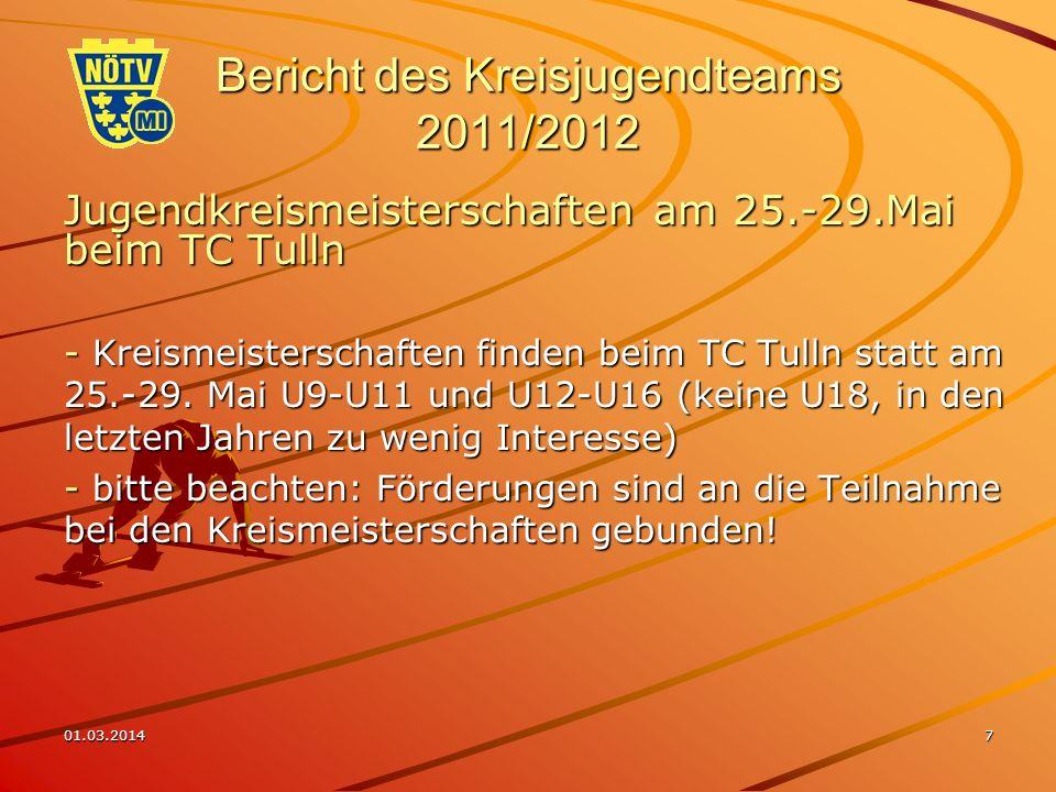 01.03.20147 Bericht des Kreisjugendteams 2011/2012 Jugendkreismeisterschaften am 25.-29.Mai beim TC Tulln - Kreismeisterschaften finden beim TC Tulln statt am 25.-29.