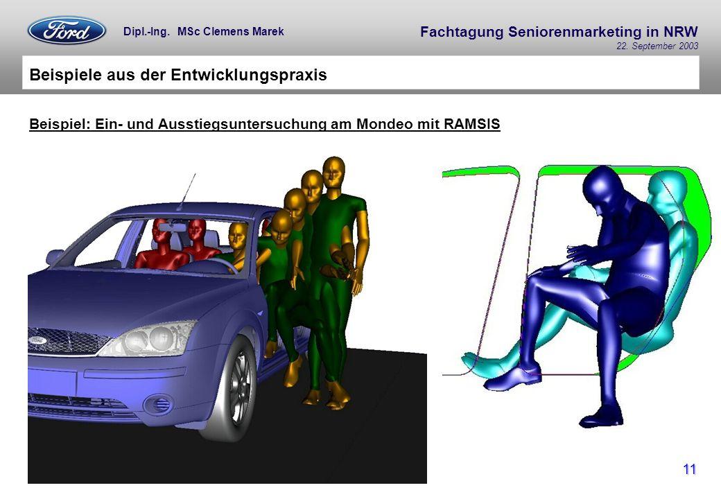 Fachtagung Seniorenmarketing in NRW 22. September 2003 11 Dipl.-Ing. MSc Clemens Marek Beispiele aus der Entwicklungspraxis Beispiel: Ein- und Ausstie