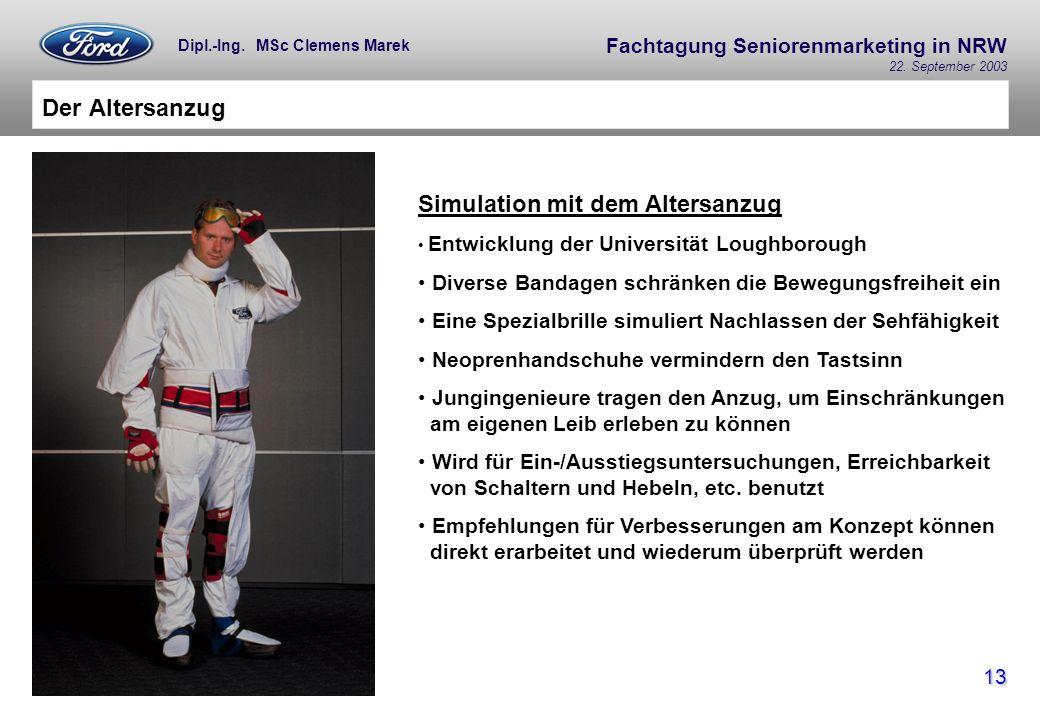 Fachtagung Seniorenmarketing in NRW 22. September 2003 13 Dipl.-Ing. MSc Clemens Marek Der Altersanzug Simulation mit dem Altersanzug Entwicklung der