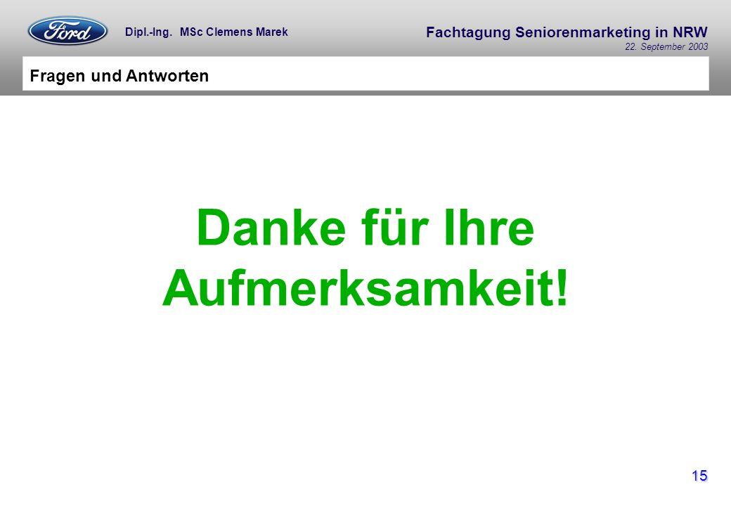 Fachtagung Seniorenmarketing in NRW 22. September 2003 15 Dipl.-Ing. MSc Clemens Marek Fragen und Antworten Danke für Ihre Aufmerksamkeit!