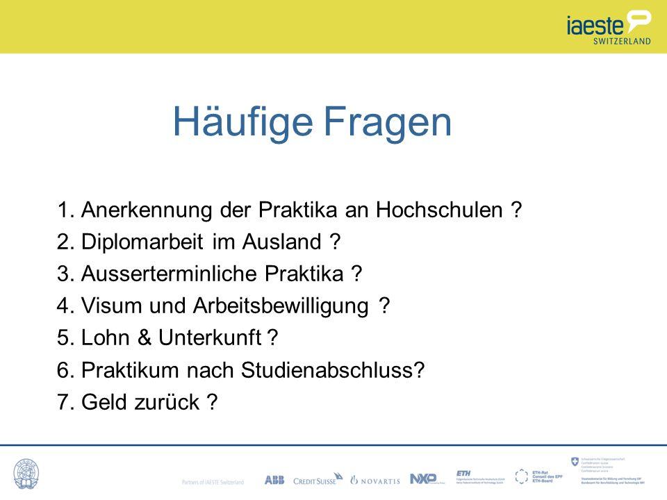 Häufige Fragen 1.Anerkennung der Praktika an Hochschulen .