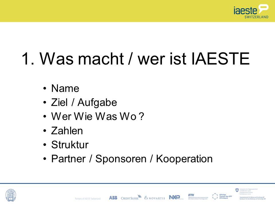 1.Was macht / wer ist IAESTE Name Ziel / Aufgabe Wer Wie Was Wo .