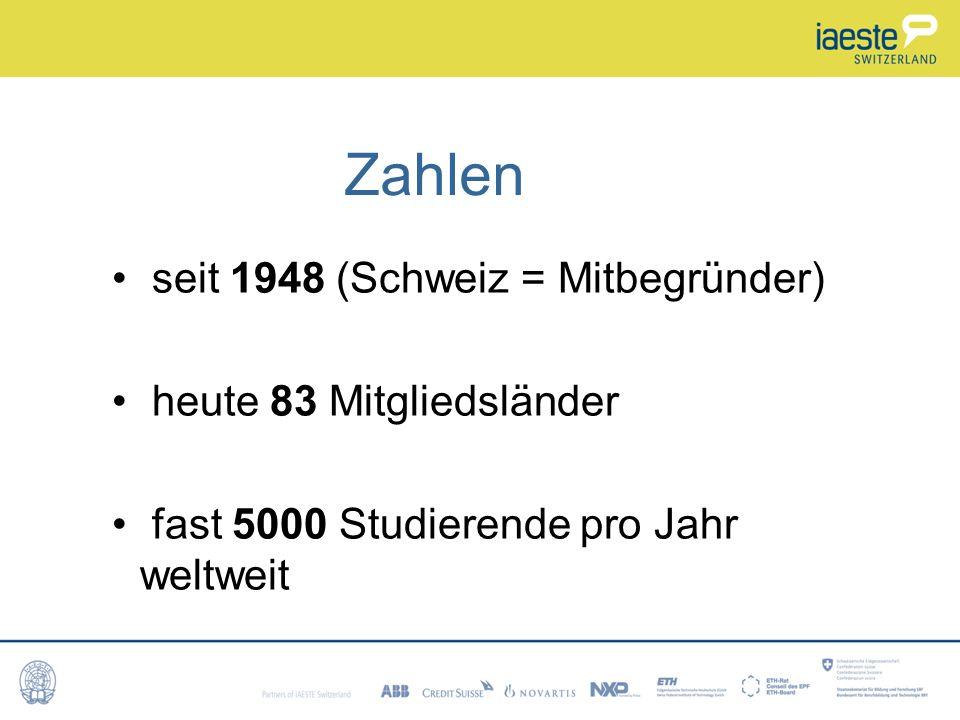 Zahlen seit 1948 (Schweiz = Mitbegründer) heute 83 Mitgliedsländer fast 5000 Studierende pro Jahr weltweit