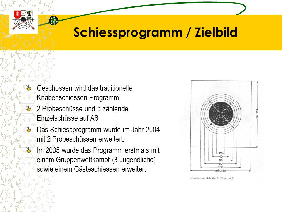 Schiessprogramm / Zielbild Geschossen wird das traditionelle Knabenschiessen-Programm: 2 Probeschüsse und 5 zählende Einzelschüsse auf A6 Das Schiessprogramm wurde im Jahr 2004 mit 2 Probeschüssen erweitert.