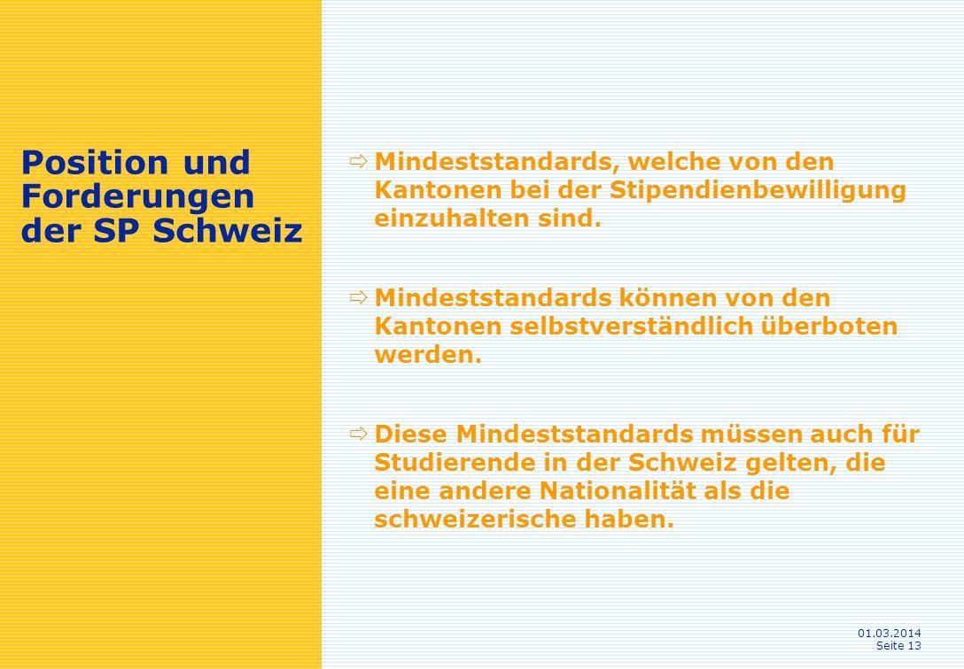01.03.2014 Seite 13 Position und Forderungen der SP Schweiz Mindeststandards, welche von den Kantonen bei der Stipendienbewilligung einzuhalten sind.