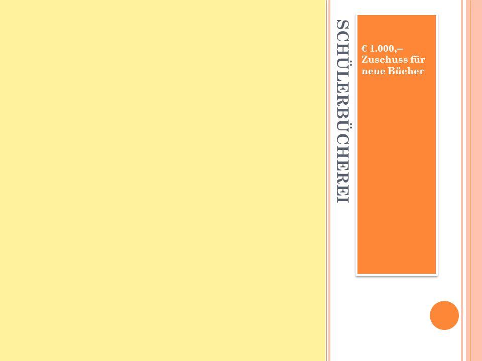 SCHÜLERBÜCHEREI 1.000,-- Zuschuss für neue Bücher