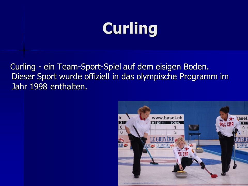 Curling Curling Curling - ein Team-Sport-Spiel auf dem eisigen Boden. Dieser Sport wurde offiziell in das olympische Programm im Jahr 1998 enthalten.