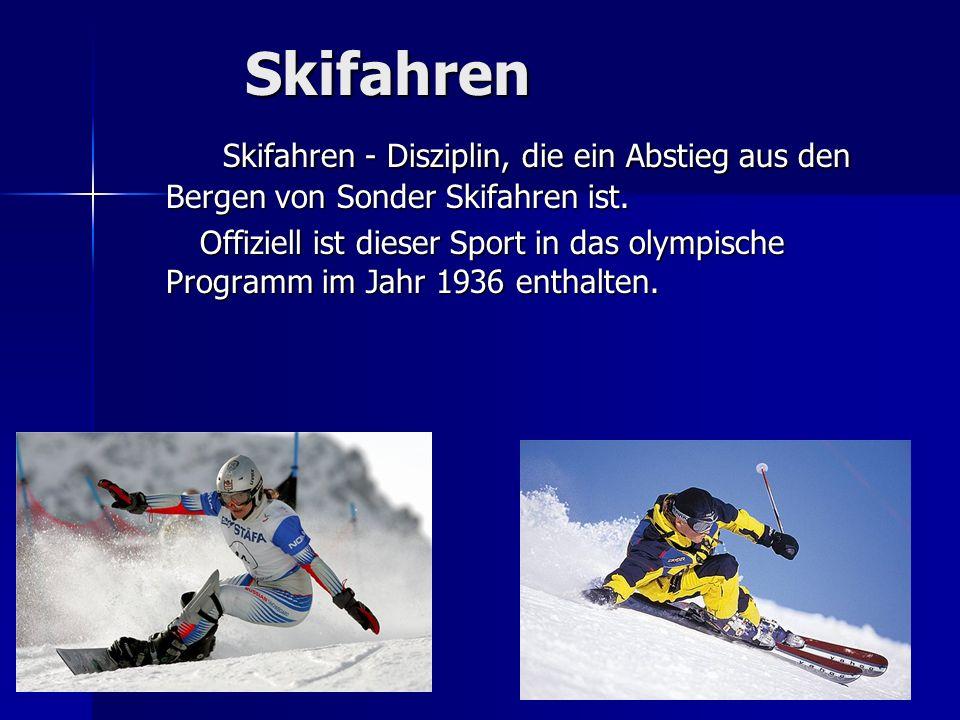 Skifahren Skifahren - Disziplin, die ein Abstieg aus den Bergen von Sonder Skifahren ist. Skifahren - Disziplin, die ein Abstieg aus den Bergen von So