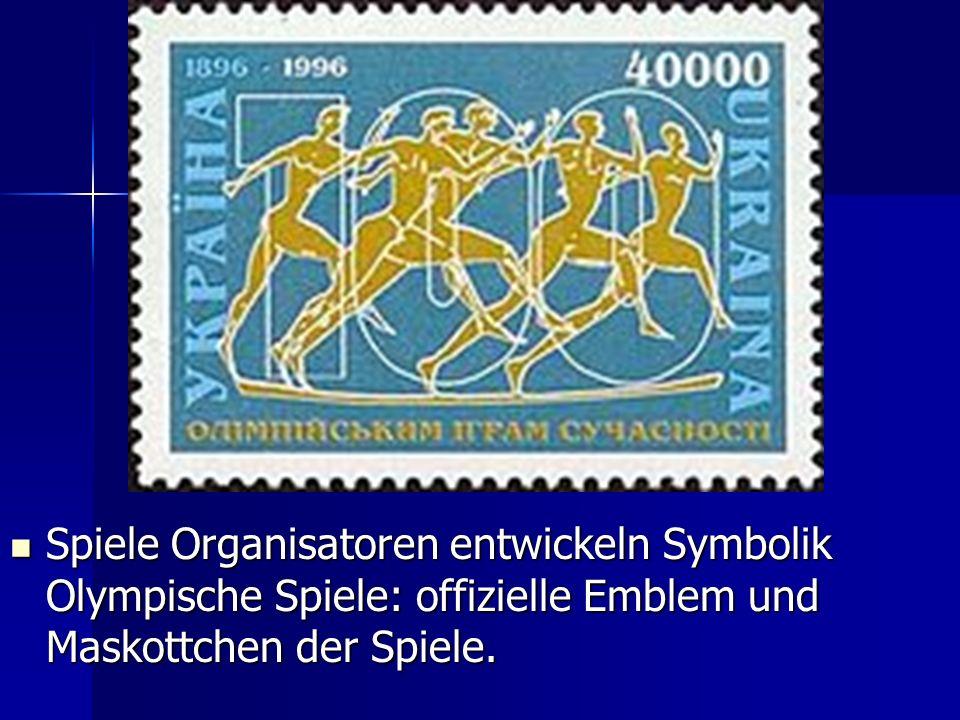 Spiele Organisatoren entwickeln Symbolik Olympische Spiele: offizielle Emblem und Maskottchen der Spiele. Spiele Organisatoren entwickeln Symbolik Oly