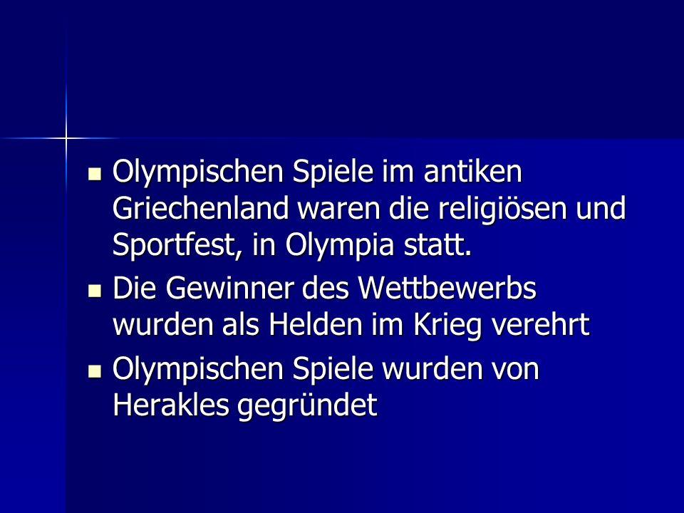 Olympischen Spiele im antiken Griechenland waren die religiösen und Sportfest, in Olympia statt. Olympischen Spiele im antiken Griechenland waren die