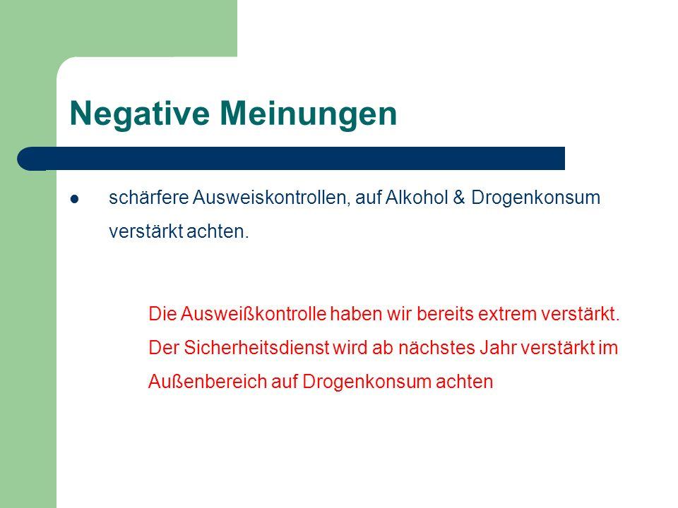 Negative Meinungen schärfere Ausweiskontrollen, auf Alkohol & Drogenkonsum verstärkt achten.