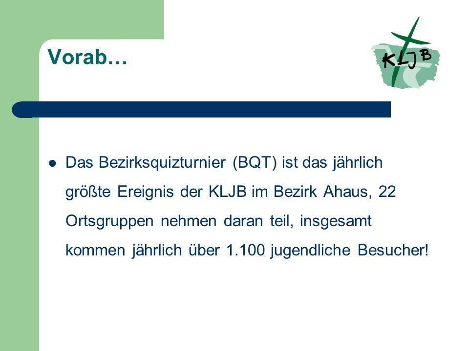 Vorab… Das Bezirksquizturnier (BQT) ist das jährlich größte Ereignis der KLJB im Bezirk Ahaus, 22 Ortsgruppen nehmen daran teil, insgesamt kommen jährlich über 1.100 jugendliche Besucher!
